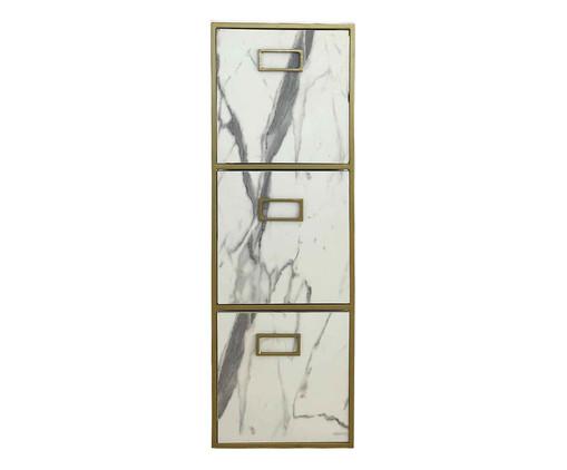 Gaveteiro Triplo - Marmorizado e Dourado, branco,dourado | WestwingNow