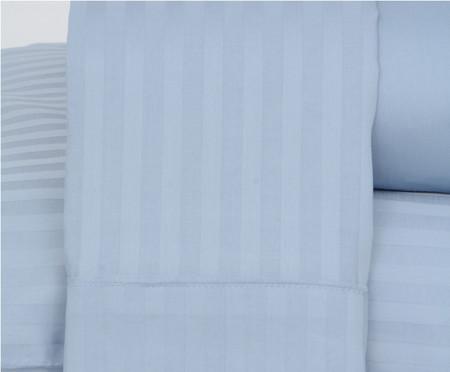 Jogo de Lençol Stripe Azul Acetinado - 300 Fios | WestwingNow