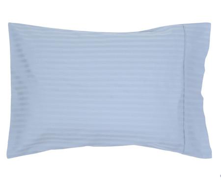 Jogo de Lençol de Algodão Acetinado Stripe 300 Fios - Azul | WestwingNow
