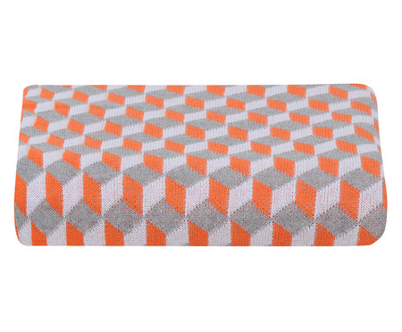 Manta para Sofá em Tricô Cube - Laranja | WestwingNow