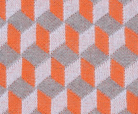 Manta em Tricô Geométrica Cube - Laranja e Cinza | WestwingNow