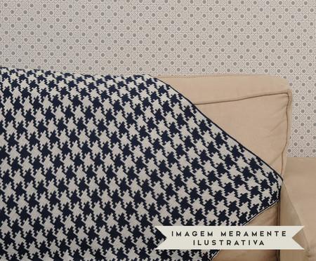 Manta para Sofá em Tricô Pied - Branca e Azul | WestwingNow