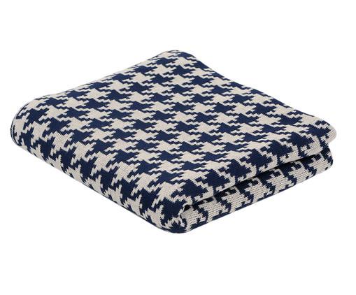 Manta para Sofá em Tricô Pied - Branca e Azul, Azul Marinho e Branco | WestwingNow