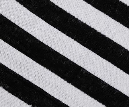 Manta em Tricô Listras - Preta e Branca | WestwingNow