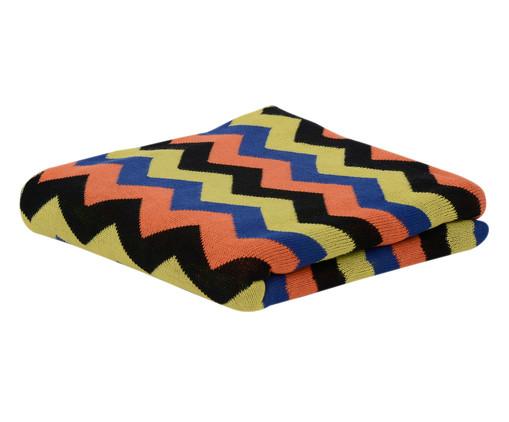 Manta para Sofá em Tricô New Chevron Retrô - Colorida, Amarelo, Azul e Laranja | WestwingNow