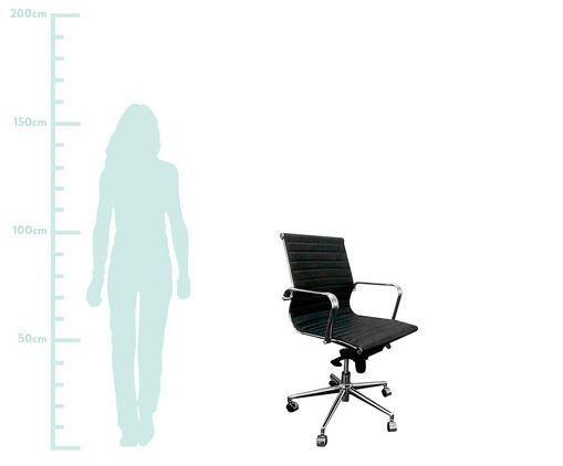Cadeira de Escritório com Rodízios Glove Baixa - Preta, Preto, Prata / Metálico, Colorido | WestwingNow
