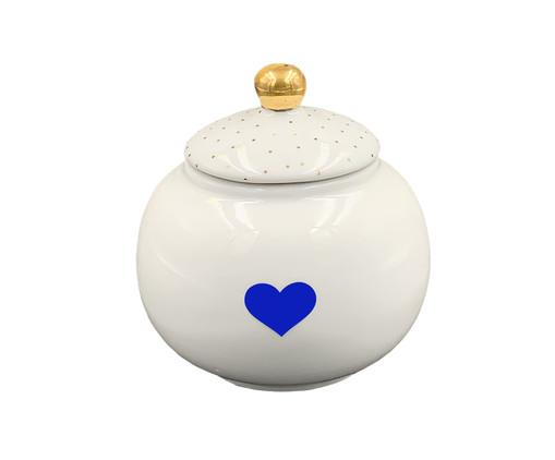 Açucareiro de Porcelana Zuri Coração - Branco e Azul, Branco | WestwingNow