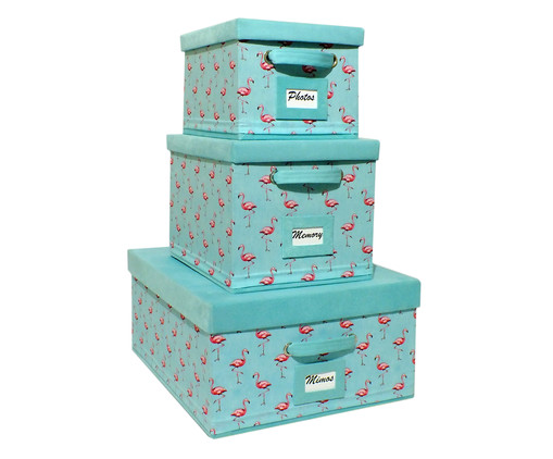 Jogo de Caixas Organizadoras Super Luxo Flamingo Ii - Tiffany, Azul | WestwingNow