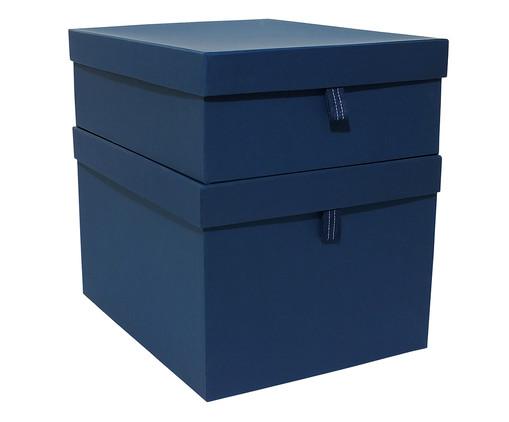 Jogo de Caixas Organizadoras com Puxador Graceful - Azul Marinho, Azul | WestwingNow