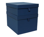 Jogo de Caixas Organizadoras com Puxador Graceful - Azul Marinho | WestwingNow