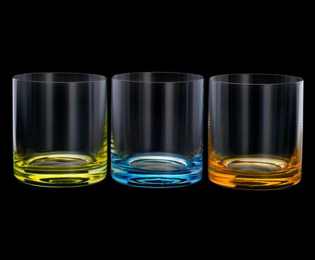 Jogo de Copos para Uísque em Cristal Shari - Colorido | WestwingNow