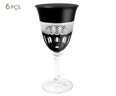 Jogo de Taças para Vinho em Cristal Olsen - Preta | WestwingNow