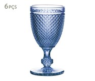 Jogo de Taças para Vinho em Vidro Lucy - Azul | WestwingNow