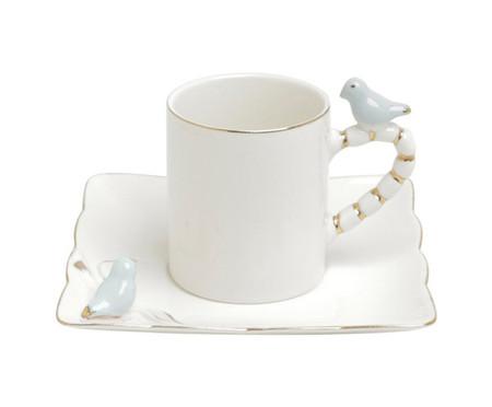 Jogo de Xícaras para Café com Pires em Porcelana Birds Yep 06 Pessoas - Branco | WestwingNow