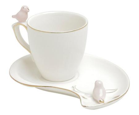 Jogo de Xícaras para Café com Pires em Porcelana Cute Birds - Branco | WestwingNow