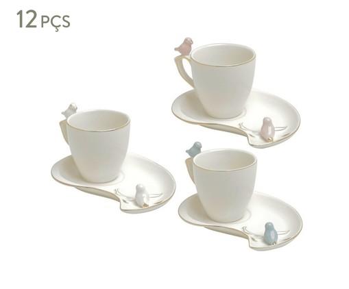 Jogo de Xícaras para Café com Pires em Porcelana Cute Birds - Branco, Preto | WestwingNow