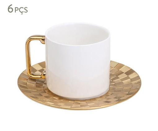 Jogo de Xícaras para Chá e Pires em Porcelana Vera 6 Pessoas - Dourada, Branca | WestwingNow