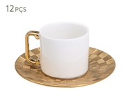 Jogo de Xícaras para Café e Pires em Porcelana Vera - Dourado | WestwingNow
