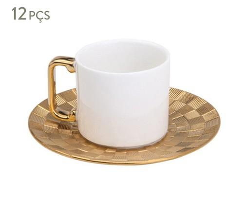 Jogo de Xícaras para Café e Pires em Porcelana Vera 6 Pessoas - Dourada, Branca   WestwingNow