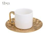 Jogo de Xícaras para Café e Pires em Porcelana Vera 6 Pessoas - Dourada | WestwingNow