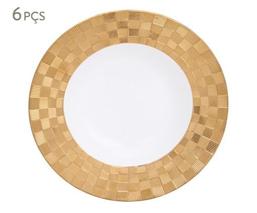 Jogo de Pratos Fundos em Porcelana Vera 06 Pessoas - Branco e Dourado, Branco | WestwingNow