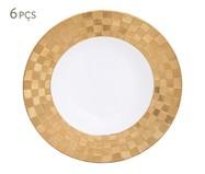 Jogo de Pratos Fundos em Porcelana Vera 06 Pessoas - Branco e Dourado | WestwingNow