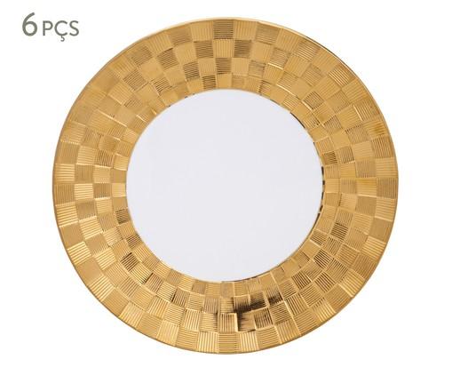 Jogo de Pratos Rasos em Porcelana Vera - Branco e Dourado, Branca | WestwingNow