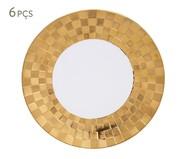 Jogo de Pratos Rasos em Porcelana Vera 06 Pessoas - Branco e Dourado | WestwingNow