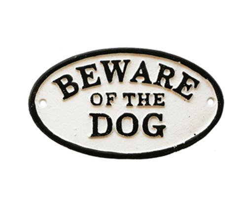 Placa Decorativa Be Ware Of The Dog, Branco e Preto | WestwingNow