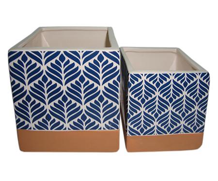 Jogo de Cachepots Creedon - Azul, Branco e Marrom | WestwingNow