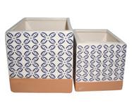 Jogo de Cachepots Creedon - Azul, Branco e Terracota   WestwingNow