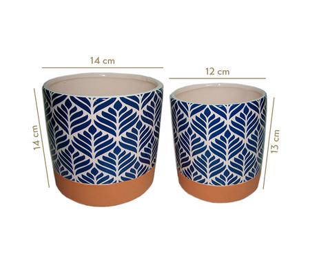 Jogo de Cachepots de Cerâmica Ziva - Branco e Azul | WestwingNow